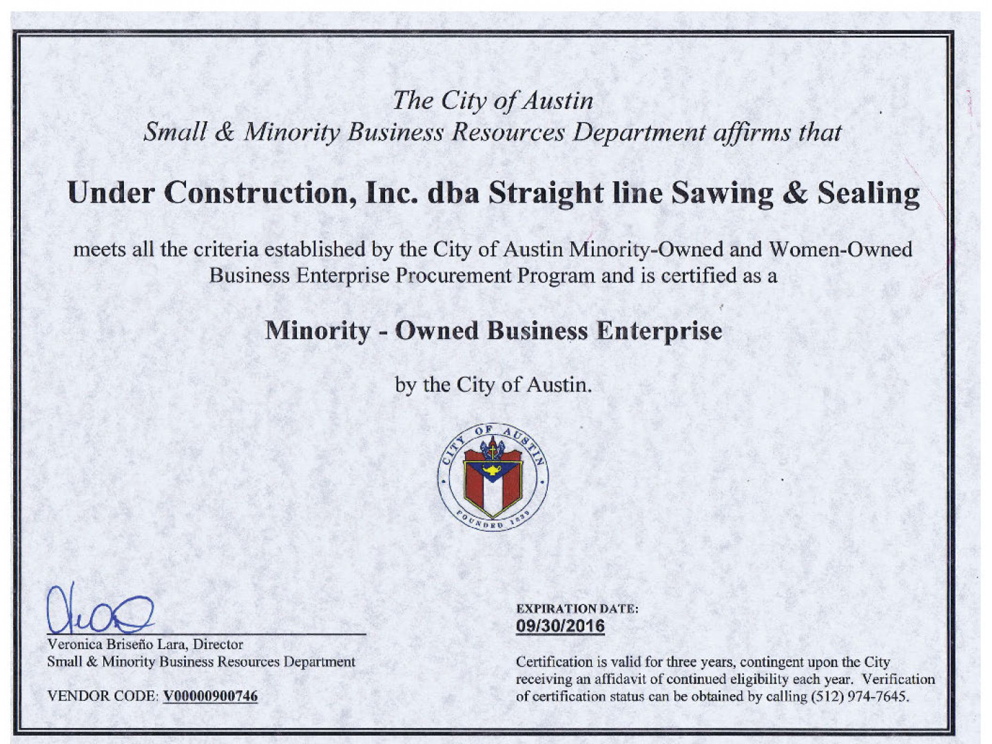 certificate mbe straight certifications sealing sawing